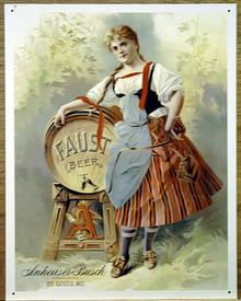 "Photo of BUD GIRL ""OLD FASHION GIRL"" ANHEUSER BUSH SIGN, HAS GREAT DETAIL AND EXCELLENT COLOR"