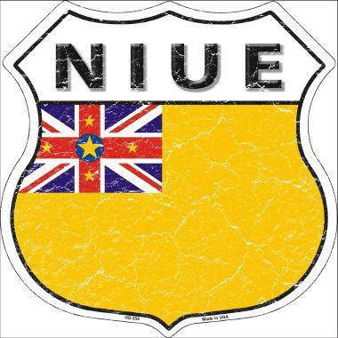 NIUE Flat Aluminum Highway Flag Sign, Crackle Paint Finish S/O*