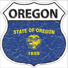 """STATE FLAG HIGHWAY SHIELD, CRACKLE PAINT, FOR A WEATHERED LOOK, ON FLAT ALUMINUM METAL SIGN 12"""" X 12"""" COLLECT EACH STATE YOU LIKE OR HAVE VISITED!  If you are ordering from outside the U.S. consider asking your friends to order signs also, it is less expensive for extra signs than for the first sign, split the shipping cost, it makes ordering more affordable. Actually, the same is true for Domestic shipping as well."""
