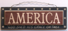 "THIS PATRIOTIC WOOD SIGN MEASURES 15 3/8"" W X 6"" H X 1/2"" D OA"