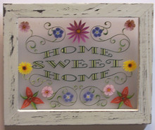 """HOME SWEET HOME SMALL FRAMED FLOWERS MEASURES 8 5/16"""" X 8""""  WOOD & PLEXYGLASS TRANSLUCENT SO LIGHT CAN SHINE THRU!"""