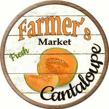 "ROUND, FLAT, ALUMINUM, VINTAGE FARMER'S MARKET SIGN MEASURING 12"" IN DIAMETER. WITH A HOLE FOR EASY MOUNTING GREAT COLOR AND EXCEPTIONAL DETAIL, WILL NOT RUST!"