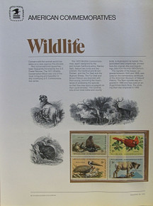 """PANEL #1, U.S. COMMERATIVE PANEL...WILDLIFE, ISSUED 9/20/1972 SCOTT # 1467a, PRINTED ON HEAVY PAPER,  MEASURING 8  1/2""""  X  11  1/4"""" WITH 4 DIFFERENT UNUSED 8 CENT STAMPS  PANELS ISSUED BY U.S. BUREAU OF ENGRAVING REPRESENT MANY HISTORICAL EVENTS IN OUR COUNTRY PLUS CULTURAL, WILDLIFE, FLORAL, MUSICAL, MOVIES AND COUNTLESS OTHER SUBJECTS, GREAT FOR COLLECTORS AND ENTHUSIAST OF A WIDE VARIETY OF INTEREST. GREAT TO FRAME FOR GIFTS! UP TO A DOZEN CAN BE SHIPPED USING PRIORITY MAIL FLAT RATE ENVELOPE, FOR THE PRICE OF ONE (REFUND GIVEN AFTER PANELS ARE SHIPPED TAKES 3-4 DAYS FOR REFUND TO REACH YOUR CARD) OR YOU CAN SEND ONE OR MORE, FIRST CLASS (NOT INSURED) FOR LESS, YOUR CHOICE."""