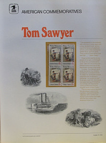"""PANEL #4, U.S. COMMERATIVE PANE TOM SAWYER …, ISSUED 10/13/1972 SCOTT # 1470, PRINTED ON HEAVY PAPER,  MEASURING 8  1/2""""  X  11  1/4"""" WITH 4 UNUSED TOM SAWYER 8 CENT STAMPS  PANELS ISSUED BY U.S. BUREAU OF ENGRAVING REPRESENT MANY HISTORICAL EVENTS IN OUR COUNTRY PLUS CULTURAL, WILDLIFE, FLORAL, MUSICAL, MOVIES AND COUNTLESS OTHER SUBJECTS, GREAT FOR COLLECTORS AND ENTHUSIAST OF A WIDE VARIETY OF INTEREST. GREAT TO FRAME FOR GIFTS! UP TO A DOZEN CAN BE SHIPPED USING PRIORITY MAIL FLAT RATE ENVELOPE, FOR THE PRICE OF ONE (REFUND GIVEN AFTER PANELS ARE SHIPPED TAKES 3-4 DAYS FOR REFUND TO REACH YOUR CARD) OR YOU CAN SEND ONE OR MORE, FIRST CLASS (NOT INSURED) FOR LESS, YOUR CHOICE."""