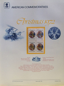 """PANEL # 6, U.S. COMMERATIVE PANEL CHRISTMAS ANGELS …, ISSUED 11/9/1972 SCOTT # 1471, PRINTED ON HEAVY PAPER,  MEASURING 8  1/2""""  X  11  1/4"""" WITH 4 UNUSED CHRISTMAS ANGELS 8 CENT STAMPS  PANELS ISSUED BY U.S. BUREAU OF ENGRAVING REPRESENT MANY HISTORICAL EVENTS IN OUR COUNTRY PLUS CULTURAL, WILDLIFE, FLORAL, MUSICAL, MOVIES AND COUNTLESS OTHER SUBJECTS, GREAT FOR COLLECTORS AND ENTHUSIAST OF A WIDE VARIETY OF INTEREST. GREAT TO FRAME FOR GIFTS! UP TO A DOZEN CAN BE SHIPPED USING PRIORITY MAIL FLAT RATE ENVELOPE, FOR THE PRICE OF ONE (REFUND GIVEN AFTER PANELS ARE SHIPPED TAKES 3-4 DAYS FOR REFUND TO REACH YOUR CARD) OR YOU CAN SEND ONE OR MORE, FIRST CLASS (NOT INSURED) FOR LESS, YOUR CHOICE."""