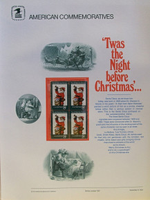 """PANEL # 7, U.S. COMMERATIVE PANEL SANTA CLAUS …, ISSUED 11/9/1972 SCOTT # 1472, PRINTED ON HEAVY PAPER,  MEASURING 8  1/2""""  X  11  1/4"""" WITH 4 UNUSED SANTA CLAUS 8 CENT STAMPS  PANELS ISSUED BY U.S. BUREAU OF ENGRAVING REPRESENT MANY HISTORICAL EVENTS IN OUR COUNTRY PLUS CULTURAL, WILDLIFE, FLORAL, MUSICAL, MOVIES AND COUNTLESS OTHER SUBJECTS, GREAT FOR COLLECTORS AND ENTHUSIAST OF A WIDE VARIETY OF INTEREST. GREAT TO FRAME FOR GIFTS! UP TO A DOZEN CAN BE SHIPPED USING PRIORITY MAIL FLAT RATE ENVELOPE, FOR THE PRICE OF ONE (REFUND GIVEN AFTER PANELS ARE SHIPPED TAKES 3-4 DAYS FOR REFUND TO REACH YOUR CARD) OR YOU CAN SEND ONE OR MORE, FIRST CLASS (NOT INSURED) FOR LESS, YOUR CHOICE."""