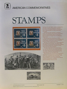 """PANEL # 8, U.S. COMMERATIVE PANEL STAMP COLLECTING …, ISSUED 11/17/1972 SCOTT # 1474, PRINTED ON HEAVY PAPER,  MEASURING 8  1/2""""  X  11  1/4"""" WITH 4 UNUSED STAMP COLLECTING 8 CENT STAMPS  PANELS ISSUED BY U.S. BUREAU OF ENGRAVING REPRESENT MANY HISTORICAL EVENTS IN OUR COUNTRY PLUS CULTURAL, WILDLIFE, FLORAL, MUSICAL, MOVIES AND COUNTLESS OTHER SUBJECTS, GREAT FOR COLLECTORS AND ENTHUSIAST OF A WIDE VARIETY OF INTEREST. GREAT TO FRAME FOR GIFTS! UP TO A DOZEN CAN BE SHIPPED USING PRIORITY MAIL FLAT RATE ENVELOPE, FOR THE PRICE OF ONE (REFUND GIVEN AFTER PANELS ARE SHIPPED TAKES 3-4 DAYS FOR REFUND TO REACH YOUR CARD) OR YOU CAN SEND ONE OR MORE, FIRST CLASS (NOT INSURED) FOR LESS, YOUR CHOICE."""