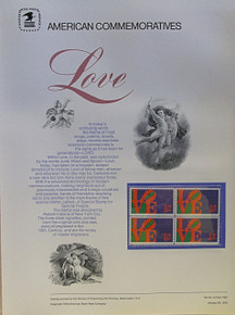 """PANEL # 9, U.S. COMMERATIVE PANEL LOVE '73 …, ISSUED 1/26/1973 SCOTT # 1475, PRINTED ON HEAVY PAPER,  MEASURING 8  1/2""""  X  11  1/4"""" WITH 4 UNUSED LOVE '73  8 CENT STAMPS  PANELS ISSUED BY U.S. BUREAU OF ENGRAVING REPRESENT MANY HISTORICAL EVENTS IN OUR COUNTRY PLUS CULTURAL, WILDLIFE, FLORAL, MUSICAL, MOVIES AND COUNTLESS OTHER SUBJECTS, GREAT FOR COLLECTORS AND ENTHUSIAST OF A WIDE VARIETY OF INTEREST. GREAT TO FRAME FOR GIFTS! UP TO A DOZEN CAN BE SHIPPED USING PRIORITY MAIL FLAT RATE ENVELOPE, FOR THE PRICE OF ONE (REFUND GIVEN AFTER PANELS ARE SHIPPED TAKES 3-4 DAYS FOR REFUND TO REACH YOUR CARD) OR YOU CAN SEND ONE OR MORE, FIRST CLASS (NOT INSURED) FOR LESS, YOUR CHOICE."""