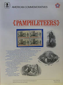 "PANEL # 10, U.S. COMMERATIVE PANEL PAMPHLETEERS …, ISSUED 2/16/1973 SCOTT # 1476, PRINTED ON HEAVY PAPER, MEASURING 8 1/2"" X 11 1/4"" WITH 4 UNUSED PAMPHLETTERS 8 CENT STAMPS PANELS ISSUED BY U.S. BUREAU OF ENGRAVING REPRESENT MANY HISTORICAL EVENTS IN OUR COUNTRY PLUS CULTURAL, WILDLIFE, FLORAL, MUSICAL, MOVIES AND COUNTLESS OTHER SUBJECTS, GREAT FOR COLLECTORS AND ENTHUSIAST OF A WIDE VARIETY OF INTEREST. GREAT TO FRAME FOR GIFTS! UP TO A DOZEN CAN BE SHIPPED USING PRIORITY MAIL FLAT RATE ENVELOPE, FOR THE PRICE OF ONE (REFUND GIVEN AFTER PANELS ARE SHIPPED TAKES 3-4 DAYS FOR REFUND TO REACH YOUR CARD) OR YOU CAN SEND ONE OR MORE, FIRST CLASS (NOT INSURED) FOR LESS, YOUR CHOICE."