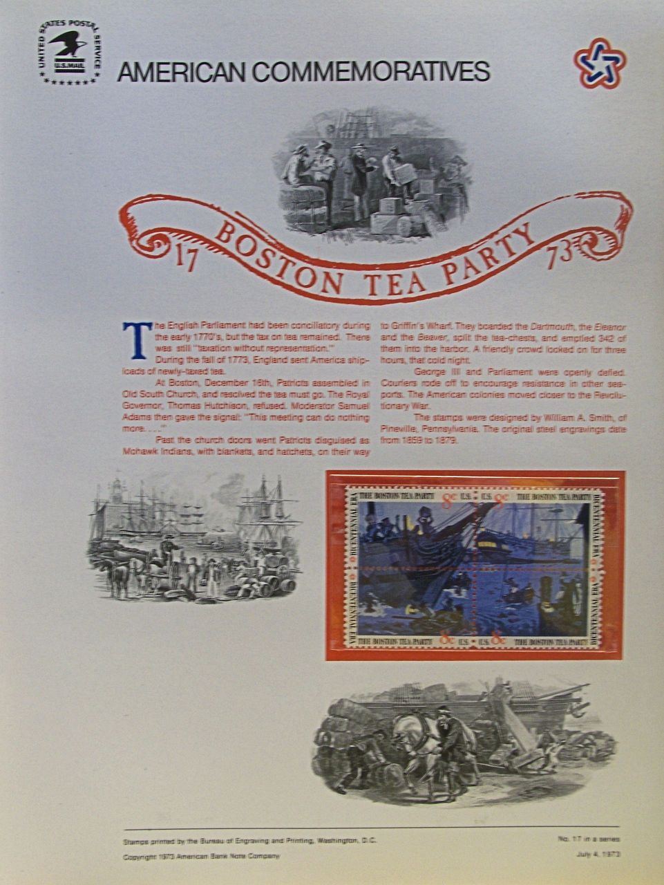 PANEL 17 US COMMERATIVE BOSTON TEA PARTY ISSUED 7