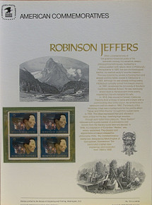 """PANEL # 19, U.S. COMMERATIVE PANEL ROBINSON JEFFERS.., ISSUED 8/13/1973 SCOTT # 1503 PRINTED ON HEAVY PAPER MEASURING 8  1/2""""  X  11  1/4"""" WITH 4 UNUSED ROBINSON JEFFERS 8 CENT STAMPS PANELS ISSUED BY U.S. BUREAU OF ENGRAVING REPRESENT MANY HISTORICAL EVENTS IN OUR COUNTRY PLUS CULTURAL, WILDLIFE, FLORAL, MUSICAL, MOVIES AND COUNTLESS OTHER SUBJECTS, GREAT FOR  COLLECTORS AND ENTHUSIAST OF A WIDE VARIETY OF INTEREST. GREAT TO FRAME FOR GIFTS! UP TO A DOZEN CAN BE SHIPPED USING PRIORITY MAIL FLAT RATE ENVELOPE, FOR THE PRICE OF ONE (REFUND GIVEN AFTER PANELS ARE SHIPPED TAKES 3-4 DAYS FOR REFUND TO REACH YOUR CARD) OR YOU CAN SEND ONE OR MORE, FIRST CLASS (NOT INSURED) FOR LESS, YOUR CHOICE."""