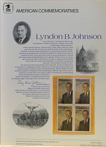 "PANEL # 20, U.S. COMMERATIVE PANEL LYNDON B. JOHNSON.., ISSUED 8/27/1973 SCOTT # 1503 PRINTED ON HEAVY PAPER MEASURING 8  1/2""  X  11  1/4"" WITH 4 UNUSED LYNDON B JOHNSON 8 CENT STAMPS PANELS ISSUED BY U.S. BUREAU OF ENGRAVING REPRESENT MANY HISTORICAL EVENTS IN OUR COUNTRY PLUS CULTURAL, WILDLIFE, FLORAL, MUSICAL, MOVIES AND COUNTLESS OTHER SUBJECTS, GREAT FOR  COLLECTORS AND ENTHUSIAST OF A WIDE VARIETY OF INTEREST.  GREAT TO FRAME FOR GIFTS! UP TO A DOZEN CAN BE SHIPPED USING PRIORITY MAIL FLAT RATE ENVELOPE, FOR THE PRICE OF ONE (REFUND GIVEN AFTER PANELS ARE SHIPPED TAKES 3-4 DAYS FOR REFUND TO REACH YOUR CARD) OR YOU CAN SEND ONE OR MORE, FIRST CLASS (NOT INSURED) FOR LESS, YOUR CHOICE."