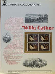 """PANEL # 22, U.S. COMMERATIVE PANEL WILLA CATHER.., ISSUED 9/20/1973 SCOTT # 1487 PRINTED ON HEAVY PAPER MEASURING 8  1/2""""  X  11  1/4"""" WITH 4 UNUSED WILLA CATHER 8 CENT STAMPS PANELS ISSUED BY U.S. BUREAU OF ENGRAVING REPRESENT MANY HISTORICAL EVENTS IN OUR COUNTRY PLUS CULTURAL, WILDLIFE, FLORAL, MUSICAL, MOVIES AND COUNTLESS OTHER SUBJECTS, GREAT FOR  COLLECTORS AND ENTHUSIAST OF A WIDE VARIETY OF INTEREST. GREAT TO FRAME FOR GIFTS! UP TO A DOZEN CAN BE SHIPPED USING PRIORITY MAIL FLAT RATE ENVELOPE, FOR THE PRICE OF ONE (REFUND GIVEN AFTER PANELS ARE SHIPPED TAKES 3-4 DAYS FOR REFUND TO REACH YOUR CARD) OR YOU CAN SEND ONE OR MORE, FIRST CLASS (NOT INSURED) FOR LESS, YOUR CHOICE."""