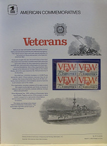 """PANEL # 27, U.S. COMMERATIVE PANEL VFW.., ISSUED 3/11/1974 SCOTT # 1525 PRINTED ON HEAVY PAPER MEASURING 8  1/2""""  X  11  1/4"""" WITH 4 UNUSED VFW  10 CENT STAMPS PANELS ISSUED BY U.S. BUREAU OF ENGRAVING REPRESENT MANY HISTORICAL EVENTS IN OUR COUNTRY PLUS CULTURAL, WILDLIFE, FLORAL, MUSICAL, MOVIES AND COUNTLESS OTHER SUBJECTS, GREAT FOR  COLLECTORS AND ENTHUSIAST OF A WIDE VARIETY OF INTEREST. GREAT TO FRAME FOR GIFTS! UP TO A DOZEN CAN BE SHIPPED USING PRIORITY MAIL FLAT RATE ENVELOPE, FOR THE PRICE OF ONE (REFUND GIVEN AFTER PANELS ARE SHIPPED TAKES 3-4 DAYS FOR REFUND TO REACH YOUR CARD) OR YOU CAN SEND ONE OR MORE, FIRST CLASS (NOT INSURED) FOR LESS, YOUR CHOICE."""