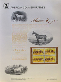 "PANEL # 30, U.S. COMMERATIVE PANEL HORSE RACING., ISSUED 5/4/1974 SCOTT # 1528 PRINTED ON HEAVY PAPER MEASURING 8  1/2""  X  11  1/4"" WITH 4 HORCE RACING  10 CENT STAMPS PANELS ISSUED BY U.S. BUREAU OF ENGRAVING REPRESENT MANY HISTORICAL EVENTS IN OUR COUNTRY PLUS CULTURAL, WILDLIFE, FLORAL, MUSICAL, MOVIES AND COUNTLESS OTHER SUBJECTS, GREAT FOR  COLLECTORS AND ENTHUSIAST OF A WIDE VARIETY OF INTEREST.  GREAT TO FRAME FOR GIFTS! UP TO A DOZEN CAN BE SHIPPED USING PRIORITY MAIL FLAT RATE ENVELOPE, FOR THE PRICE OF ONE (REFUND GIVEN AFTER PANELS ARE SHIPPED TAKES 3-4 DAYS FOR REFUND TO REACH YOUR CARD) OR YOU CAN SEND ONE OR MORE, FIRST CLASS (NOT INSURED) FOR LESS, YOUR CHOICE."