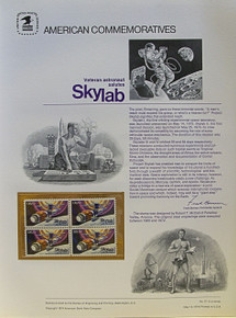 """PANEL # 31, U.S. COMMERATIVE PANEL SKYLAB.., ISSUED 5/14/1974 SCOTT # 1529 PRINTED ON HEAVY PAPER MEASURING 8  1/2""""  X  11  1/4"""" WITH 4 SKY LAB  10 CENT STAMPS PANELS ISSUED BY U.S. BUREAU OF ENGRAVING REPRESENT MANY HISTORICAL EVENTS IN OUR COUNTRY PLUS CULTURAL, WILDLIFE, FLORAL, MUSICAL, MOVIES AND COUNTLESS OTHER SUBJECTS, GREAT FOR  COLLECTORS AND ENTHUSIAST OF A WIDE VARIETY OF INTEREST. GREAT TO FRAME FOR GIFTS! UP TO A DOZEN CAN BE SHIPPED USING PRIORITY MAIL FLAT RATE ENVELOPE, FOR THE PRICE OF ONE (REFUND GIVEN AFTER PANELS ARE SHIPPED TAKES 3-4 DAYS FOR REFUND TO REACH YOUR CARD) OR YOU CAN SEND ONE OR MORE, FIRST CLASS (NOT INSURED) FOR LESS, YOUR CHOICE."""