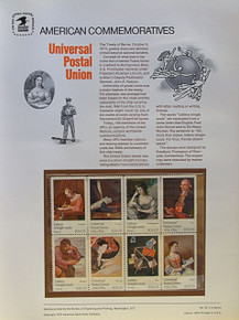 """PANEL # 32, U.S. COMMERATIVE PANEL UNIVERSAL POSTAL UNION.., ISSUED 6/6/1974 SCOTT # 1537a PRINTED ON HEAVY PAPER MEASURING 8  1/2""""  X  11  1/4"""" WITH 8 DIFFERENT UNIV. POSTAL UNION 10 CENT STAMPS PANELS ISSUED BY U.S. BUREAU OF ENGRAVING REPRESENT MANY HISTORICAL EVENTS IN OUR COUNTRY PLUS CULTURAL, WILDLIFE, FLORAL, MUSICAL, MOVIES AND COUNTLESS OTHER SUBJECTS, GREAT FOR  COLLECTORS AND ENTHUSIAST OF A WIDE VARIETY OF INTEREST. GREAT TO FRAME FOR GIFTS! UP TO A DOZEN CAN BE SHIPPED USING PRIORITY MAIL FLAT RATE ENVELOPE, FOR THE PRICE OF ONE (REFUND GIVEN AFTER PANELS ARE SHIPPED TAKES 3-4 DAYS FOR REFUND TO REACH YOUR CARD) OR YOU CAN SEND ONE OR MORE, FIRST CLASS (NOT INSURED) FOR LESS, YOUR CHOICE."""