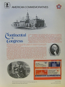 "PANEL # 35, U.S. COMMERATIVE PANEL CONTINENTAL CONGRESS.., ISSUED 7/4/1974 SCOTT # 1546a PRINTED ON HEAVY PAPER MEASURING 8  1/2""  X  11  1/4"" WITH 4 DIFFERENT, CONTINENTAL CONGRESS 10 CENT STAMPS PANELS ISSUED BY U.S. BUREAU OF ENGRAVING REPRESENT MANY HISTORICAL EVENTS IN OUR COUNTRY PLUS CULTURAL, WILDLIFE, FLORAL, MUSICAL, MOVIES AND COUNTLESS OTHER SUBJECTS, GREAT FOR  COLLECTORS AND ENTHUSIAST OF A WIDE VARIETY OF INTEREST.  GREAT TO FRAME FOR GIFTS! UP TO A DOZEN CAN BE SHIPPED USING PRIORITY MAIL FLAT RATE ENVELOPE, FOR THE PRICE OF ONE (REFUND GIVEN AFTER PANELS ARE SHIPPED TAKES 3-4 DAYS FOR REFUND TO REACH YOUR CARD) OR YOU CAN SEND ONE OR MORE, FIRST CLASS (NOT INSURED) FOR LESS, YOUR CHOICE."