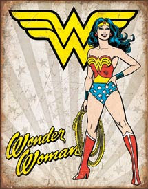 "WONDER WOMAN HEROIC Tin Sign measures 12 1/2"" x 16"" with holes in each corner for easy mounting."