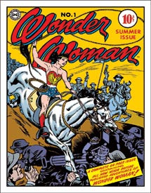 "WONDER WOMAN COVER NO. 1 Tin Sign measures 12 1/2"" x 16"" with holes in each corner for easy mounting."