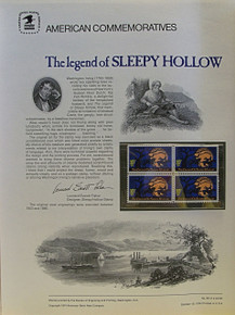 """PANEL # 39, U.S. COMMERATIVE PANEL SLEPPY HOLLOW.., ISSUED 10/10/1974 SCOTT # 1548 PRINTED ON HEAVY PAPER MEASURING 8  1/2""""  X  11  1/4"""" WITH 4 SLEPPY HOLLOW 10 CENT STAMPS PANELS ISSUED BY U.S. BUREAU OF ENGRAVING REPRESENT MANY HISTORICAL EVENTS IN OUR COUNTRY PLUS CULTURAL, WILDLIFE, FLORAL, MUSICAL, MOVIES AND COUNTLESS OTHER SUBJECTS, GREAT FOR  COLLECTORS AND ENTHUSIAST OF A WIDE VARIETY OF INTEREST. GREAT TO FRAME FOR GIFTS! UP TO A DOZEN CAN BE SHIPPED USING PRIORITY MAIL FLAT RATE ENVELOPE, FOR THE PRICE OF ONE (REFUND GIVEN AFTER PANELS ARE SHIPPED TAKES 3-4 DAYS FOR REFUND TO REACH YOUR CARD) OR YOU CAN SEND ONE OR MORE, FIRST CLASS (NOT INSURED) FOR LESS, YOUR CHOICE."""