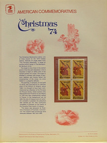 "PANEL # 42, U.S. COMMERATIVE PANEL CHRISTMAS ANGEL ALTERPIECE, ISSUED 10/23/1974 SCOTT # 1550 PRINTED ON HEAVY PAPER MEASURING 8  1/2""  X  11  1/4"" WITH 4 CHRISTMAS ANGEL ALTERPIECE 10 CENT STAMPS PANELS ISSUED BY U.S. BUREAU OF ENGRAVING REPRESENT MANY HISTORICAL EVENTS IN OUR COUNTRY PLUS CULTURAL, WILDLIFE, FLORAL, MUSICAL, MOVIES AND COUNTLESS OTHER SUBJECTS, GREAT FOR  COLLECTORS AND ENTHUSIAST OF A WIDE VARIETY OF INTEREST.  GREAT TO FRAME FOR GIFTS! UP TO A DOZEN CAN BE SHIPPED USING PRIORITY MAIL FLAT RATE ENVELOPE, FOR THE PRICE OF ONE (REFUND GIVEN AFTER PANELS ARE SHIPPED TAKES 3-4 DAYS FOR REFUND TO REACH YOUR CARD) OR YOU CAN SEND ONE OR MORE, FIRST CLASS (NOT INSURED) FOR LESS, YOUR CHOICE."