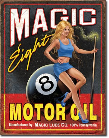 """Vintage tin sign measures 12 1/2"""" x 16"""" with holes in each corner for easy mounting. Great colors and graphics, for the garage or pool room."""