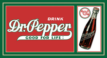 "This Dr. Pepper sign measure 16 1/2"" w  x  8"" h and has holes in each corner for easy mounting Great color and style"