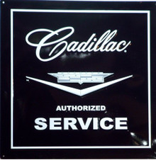 Photo of CADILLAC SERVICE SIGN, SQUARE, BLACK AND WHITE