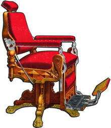 From the Barber Shop and Shoe Shine Memories licensed collection, this Kochs Barber Chair Plasma measures 16 inches by 20 inches and weighs in at 3 lb(s). Theo A. Kochs Barber's Supplies 158-170 Wells St, Chicago. 1894 Barber Chair, Kochs Columbia no. 3, Revolving and Reclining, Patented Dec 8, 1891. Made of Oak (antique finish) or Walnut. Price, covered with Mohair Plush, Crimson, Maroon, Green or Old Gold ….$50. Yes, Prices have gone up a little… but these chairs were works of Art. These classic Die Cut metal signs are the closest you can get to the real deal for about what the original chair cost in 1894! This Plasma is hand made in the USA using heavy gauge American steel.     THIS IS A SPECIAL ORDER SIGN PLEASE ALLOW 4-6 WEEKS FOR DELIVERY