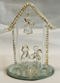 """GLASS NATIVITY SCENE ON MIRROR 22K GOLD TRIM 3 1/16"""" X 3 1/6"""" X 4 1/2""""  HAND CRAFTED & HAND PAINTED"""