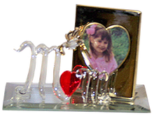 """MOM W/HUMMING BIRD & PICTURE FRAME ON MIRROR 22K GOLD TRIM 4 1/2"""" X 2 1/8"""" X 2 7/8"""" HAND CRAFTED & HAND PAINTED"""