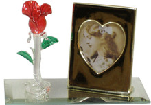 """MINI-GLASS ROSE & PICTURE FRAME ON MIRROR 4 1/2"""" X 2 1/8"""" X 2 7/8"""" HAND CRAFTED & HAND PAINTED W/ BRASS PICTURE FRAME"""