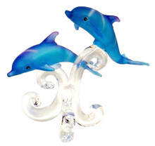 "BLUE GLASS DOLPHINS SWIMMING SIDE BY SIDE ON GLASS PEDISTOOL 3 5/8"" X 2 3/8"" X 3 5/8"" HAND CRAFTED & HAND PAINTED"