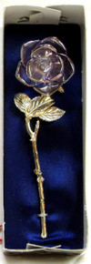 """GOLD TRIMED GLASS ROSE 22K GOLD TRIM 1 3/4"""" X 1 3/8"""" X 5 7/8"""" HAND CRAFTED & HAND PAINTED"""