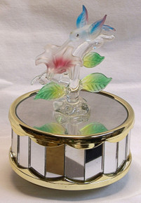 """GLASS HUMMING BIRD OVER FLOWER PLAYS BEAUTY & THE BEAST 3 5/8"""" X 3 5/8"""" X 5 1/8""""  HAND CRAFTED & HAND PAINTED"""