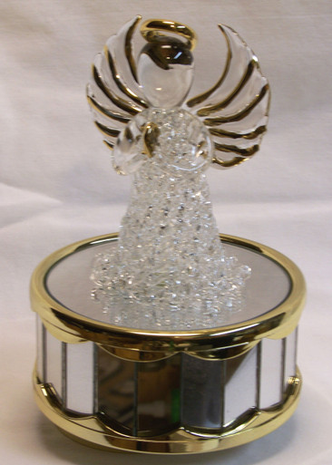 """GLASS ANGEL CAROUSEL PLAYS AMAZING GRACE  3 5/8"""" X 3 5/8"""" X 6"""" HAND CRAFTED & HAND PAINTED"""