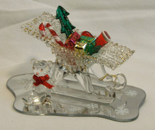 """GLASS SLEIGH WITH GIFT & BEAR ON MIRROR 22K GOLD TRIM  5"""" X 3 1/4"""" X 2 5/8"""" HAND CRAFTED & HAND PAINTED"""