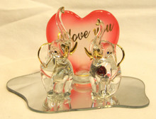 """TWO GLASS ELEPHANTS ON GLASS MIRROR WITH I LOVE YOU RED HEART 5"""" X 3 1/8"""" X 3 3/8"""" HAND CRAFTED & HAND PAINTED"""