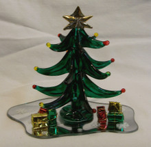 """GLASS TREE WITH GIFTS ON MIRROR 22K GOLD TRIM  5"""" X 3 1/2"""" X 4 3/8"""" HAND CRAFTED & HAND PAINTED"""