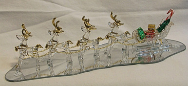 """FOUR GLASS REINDEER PULLING SLEIGH ON MIRROR  22K GOLD TRIM 10 1/2"""" X 3 1/2"""" X 2 3/8""""  HAND CRAFTED & HAND PAINTED"""