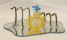 """GLASS SCRIPT """"MOM"""" WITH SUNFLOWER & BUTTERFLY  22K GOLD TRIM 5"""" X 3 3/16"""" X 1 5/8""""  HAND CRAFTED & HAND PAINTED"""