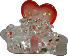 """GLASS HIPPOS WITH HEART ON MIRROR 22K GOLD TRIM  4 7/8"""" X 3 1/8"""" X 3 1/8"""" HAND CRAFTED & HAND PAINTED"""