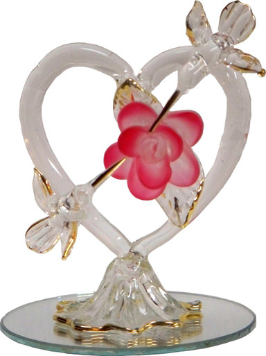 """2 GLASS HUMMING BIRD W/HEART ON MIRROR 22K GOLD TRIM  2 1/2"""" X 2 1/2"""" X 3 3/16"""" HAND CRAFTED & HAND PAINTED"""