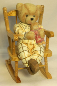 "GIRL BEAR CUB W/DOLL ON WORKING WOOD ROCKING CHAIR (2) ONLY TWO LEFT 3 1/2"" X 5"" X 6 1/4"""