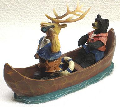 "ELK AND BEAR IN CANOE - EXPLORERS 5"" X 2"" X 3"""