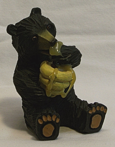 "BEAR WITH BEE HIVE EATING HONEY 2 1/4"" X 2 3/8"" X 3 1/2"""
