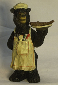 "BEAR CHEF WITH ROASTED FISH ON A DISH 3"" X 3"" X 4 7/8"""