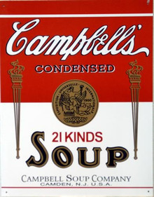 Photo of CAMPBELL'S SOUP CAN LABEL SIGN, FROM WHEN THEY ONLY MADE 21KINDS OF SOUP, FROM THEIR CAMDEN, N.J. PLANT