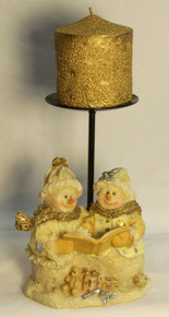 "FROSTED SNOW COUPLE SINGING CHRISTMAS CAROLS W/ CANDLE HOLDER AND CANDLE (3) ONLY THREE LEFT   4 1/4"" X 3 1/2"" X 9"""